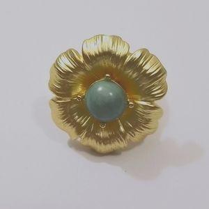 Gold Tone Ring w/Green Stone